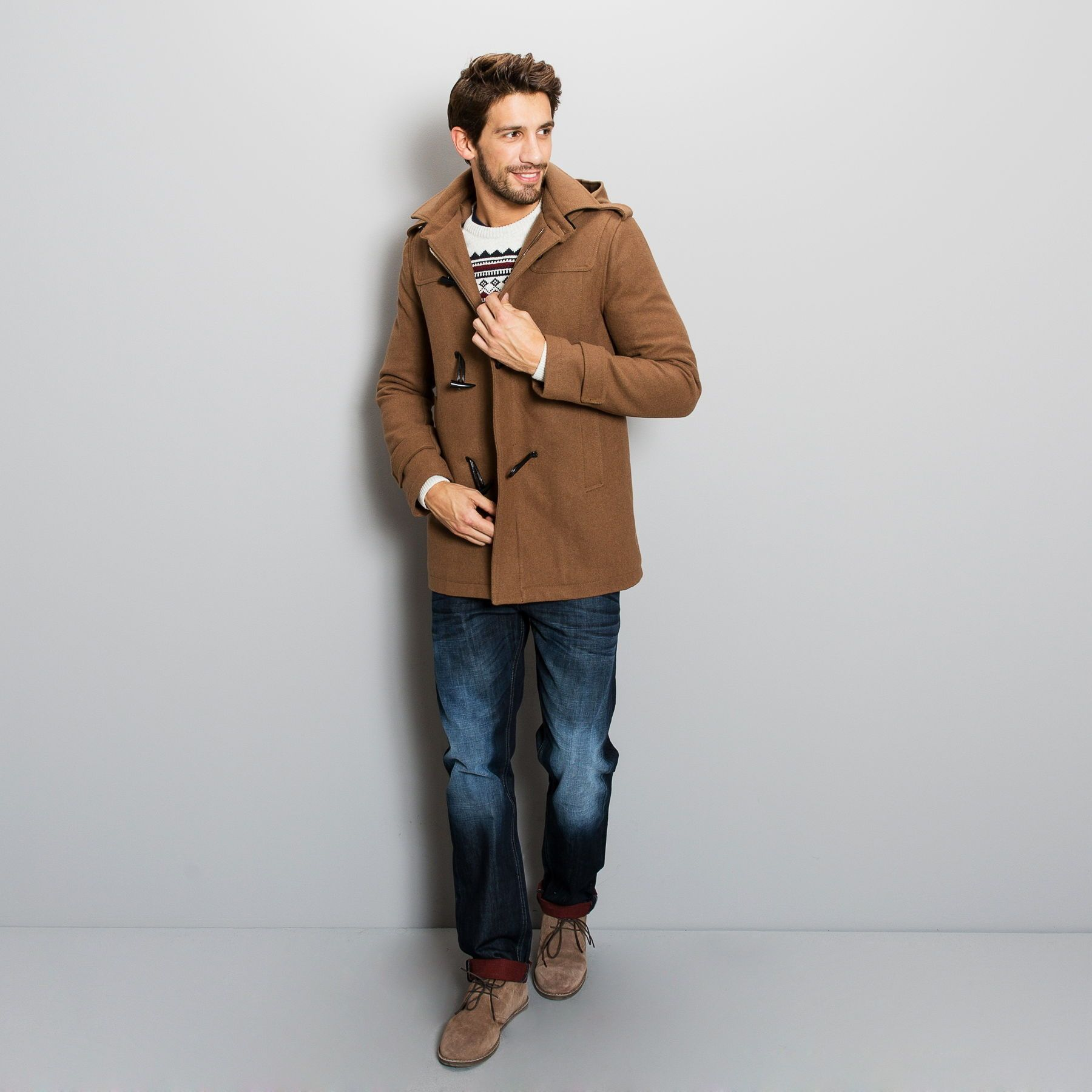 Homme Lainage Beige Type Duffle Manteau Fashion Coat Jules dSpwqwzX