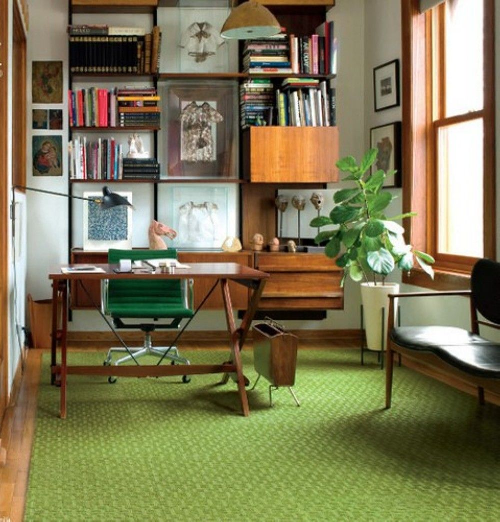 30 mid century modern home with green element interior design - Mid Century Modern Home Office