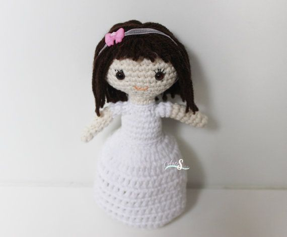 Amigurumis Muñecas : Doll 1st communion amigurumi doll gift communion.handmade doll