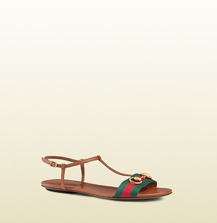 13ed0def3f2c gucci Leather T-Strap Sandal With Web pin by  theitalianglam