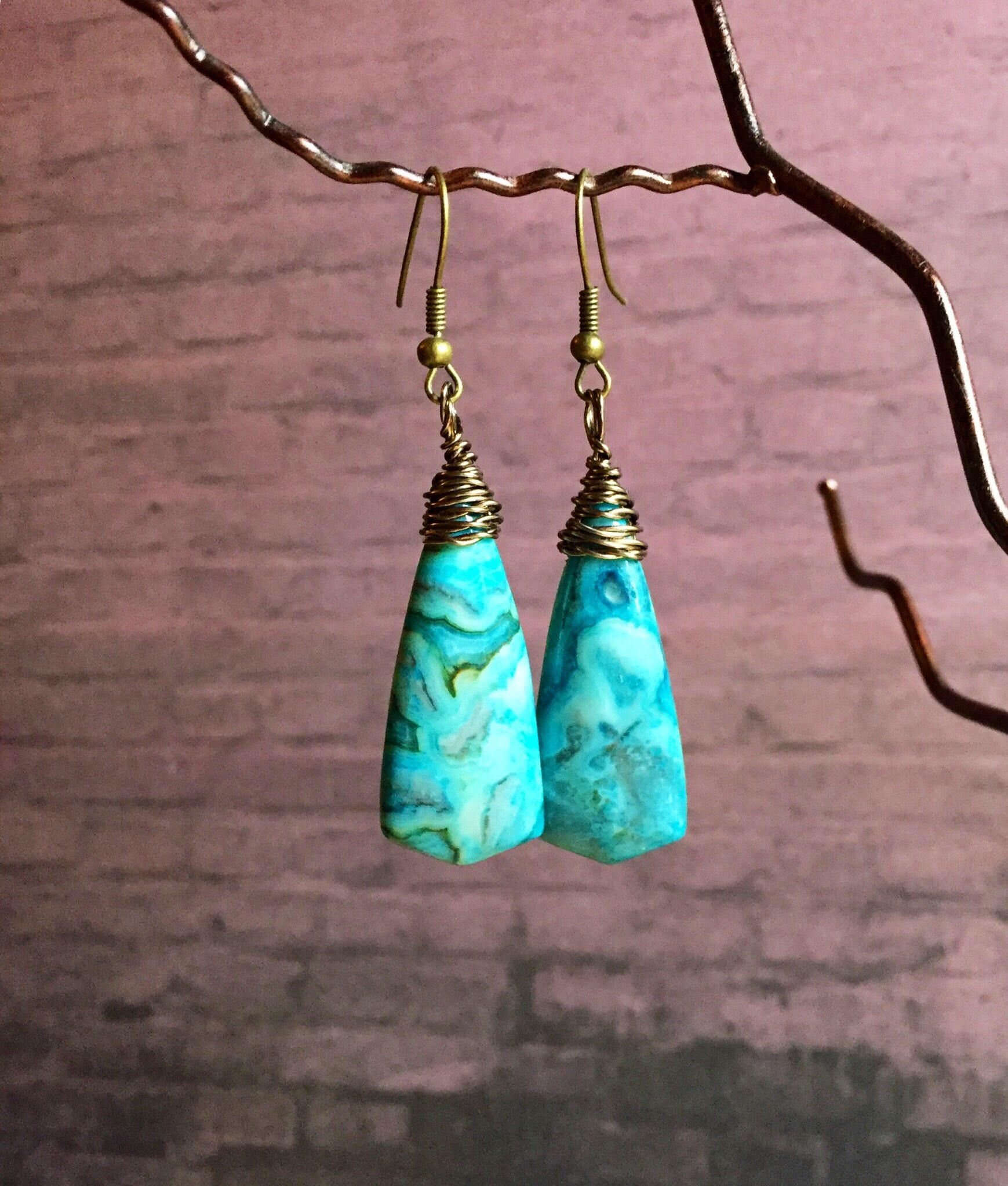 Blue Semi Precious Earrings Boho Agate Jewellery Tribal Jewelry