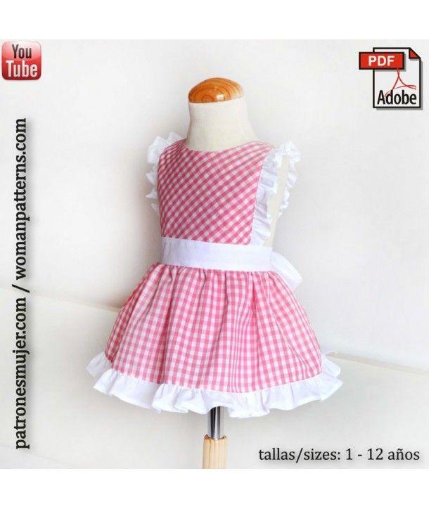 39a5f7cae Mandil de niña | PATRONES NIÑAS | Ropa para niñas, Patrones de ropa ...