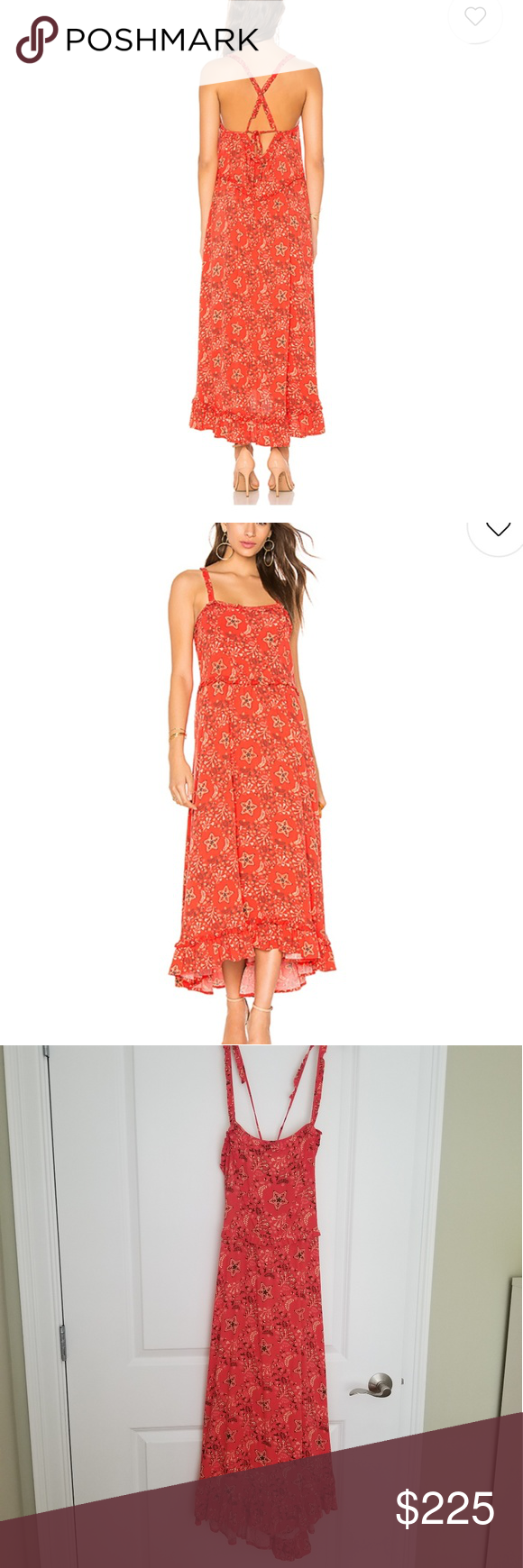 Spell celestial red strappy dress nwt medium nwt in my posh