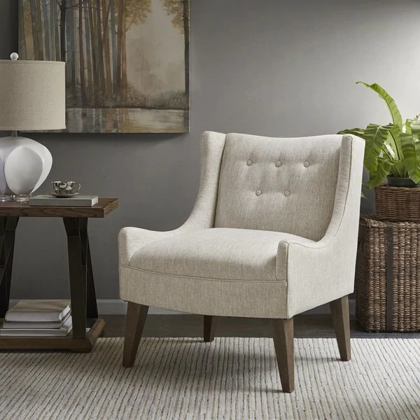 Shop Madison Park Leigh Cream Accent Chair On Sale