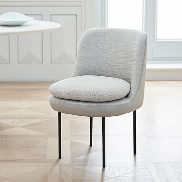 West Elm Modern Curved Leather Back Dining Chair  Dining Chairs Endearing Beige Leather Dining Room Chairs 2018