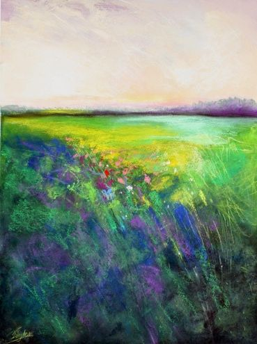 Peaceful pasture, One, abstract landscape by Carol Engles -- Carol Engles