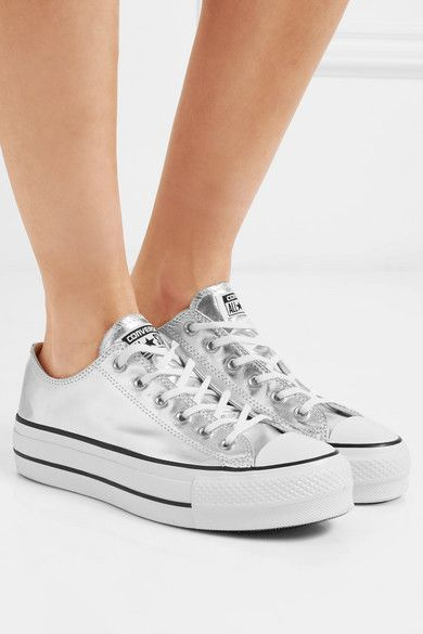 e2f629034db Converse - Chuck Taylor All Star Lift Metallic Textured-leather Platform  Sneakers - Silver