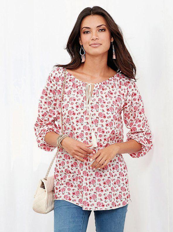 9a670002dfe Blusa floreada mujer manga larga elástica con escote caftán y cordones |  moda blusas | Blusas, Blusas floreadas y Camisa floreada