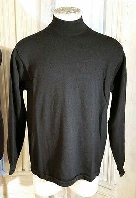 Men's Brooks Brothers Black 100% Merino Wool Crew Neck Sweater XL Made in Macau
