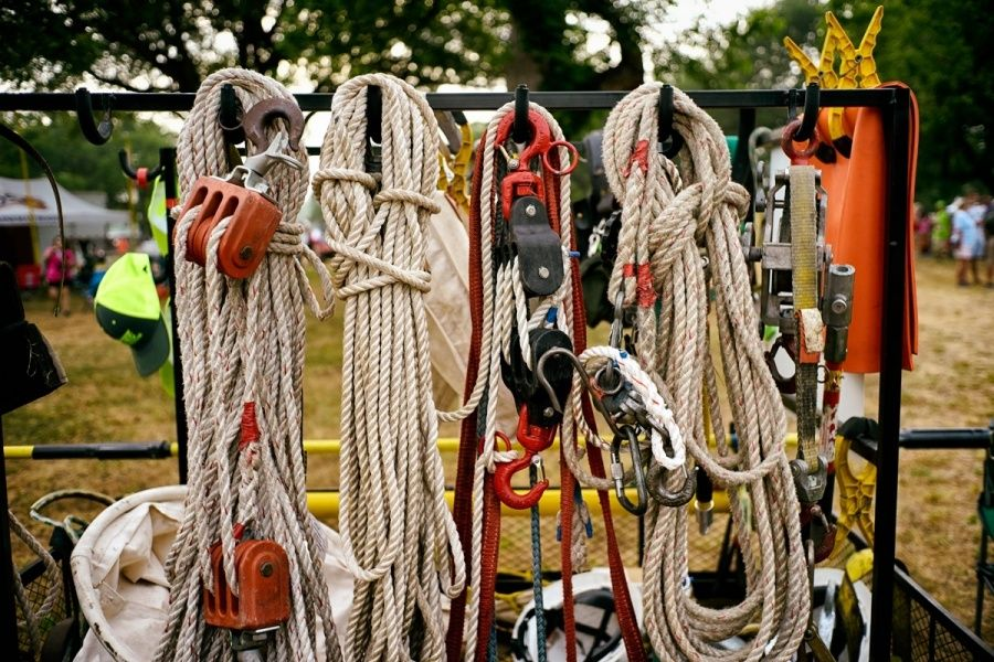Lineman gear on a rack at the 2016 texas linemans rodeo