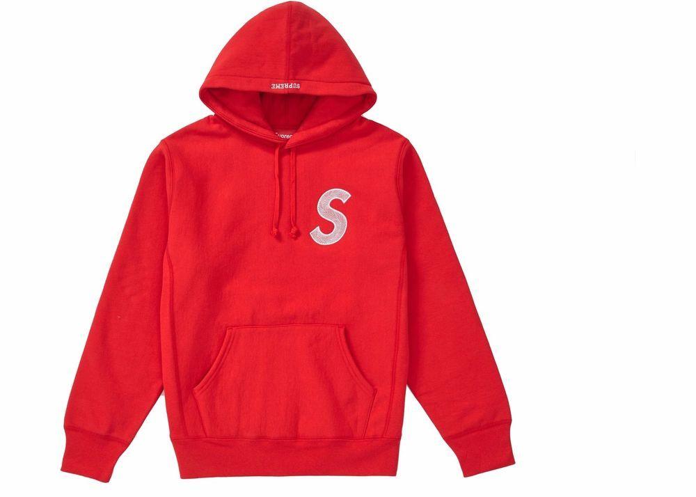 e36bd33f2b1d Supreme S Logo Hooded Sweatshirt Red Hoodie FW18 Size L Brand New ...