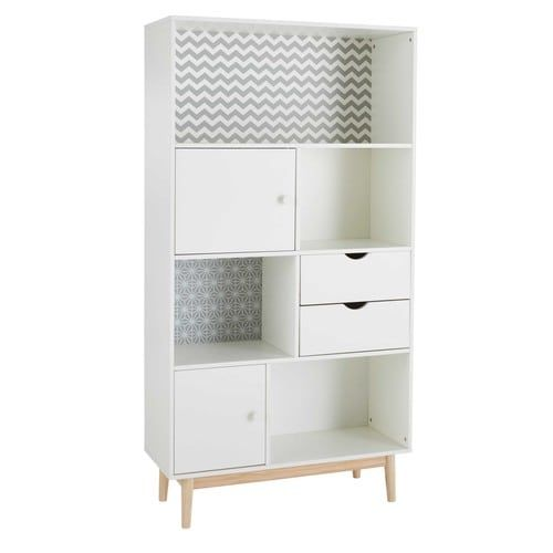 Bibliothèque 2 portes 2 tiroirs blanche à motifs