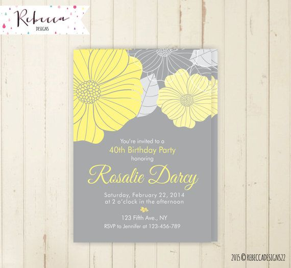 30th birthday invitation floral 40th birthday 50th birthday 60th birthday brunch invitation woman birthday yellow and