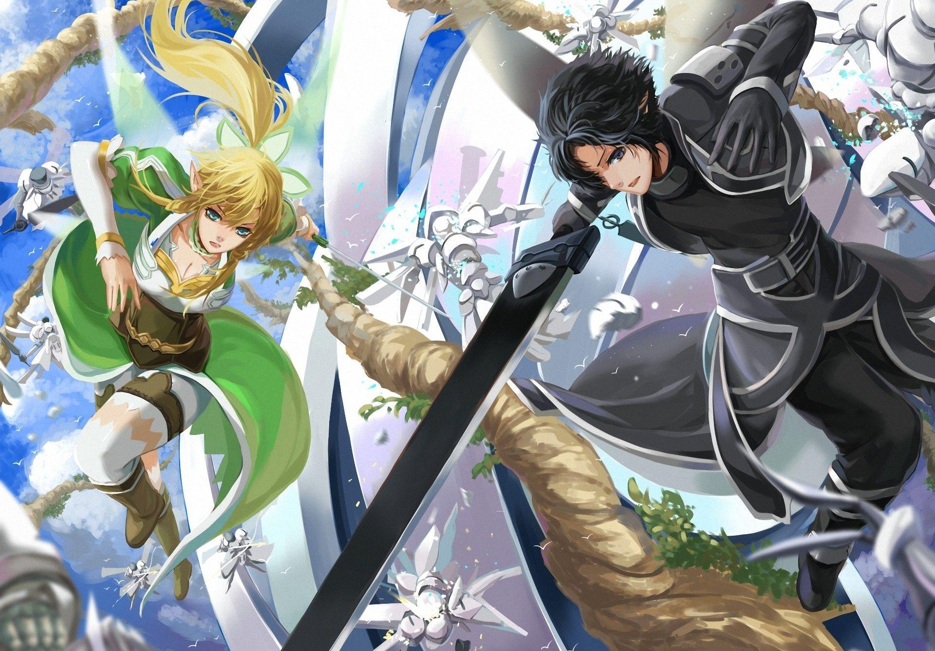 Anime Sword Art Online Leafa Kirito Sfondo (With images)