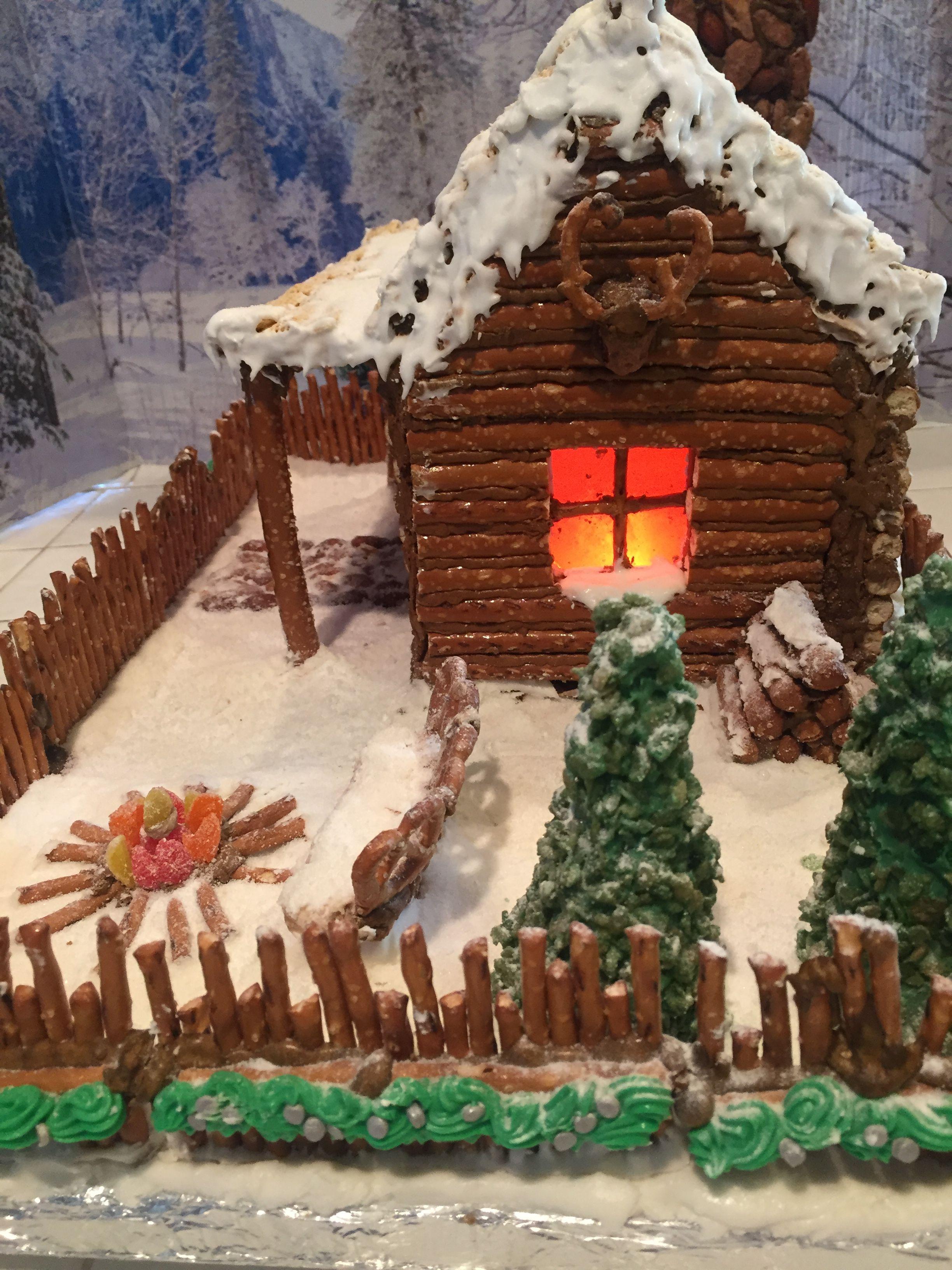 Gingerbread Log Cabin 2017 Side Stack Of Logs Firepit Chair