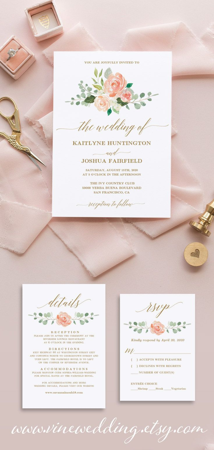 Peach Blush Floral Wedding Invitation Set Printable Wedding