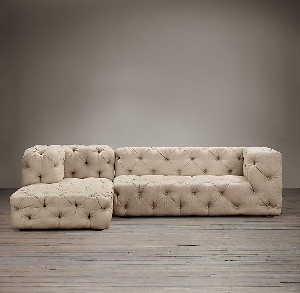 Soho Tufted Upholstered Left-Arm Sofa Chaise Sectional | Sectionals | Restoration Hardware : sectional couch hardware - Sectionals, Sofas & Couches