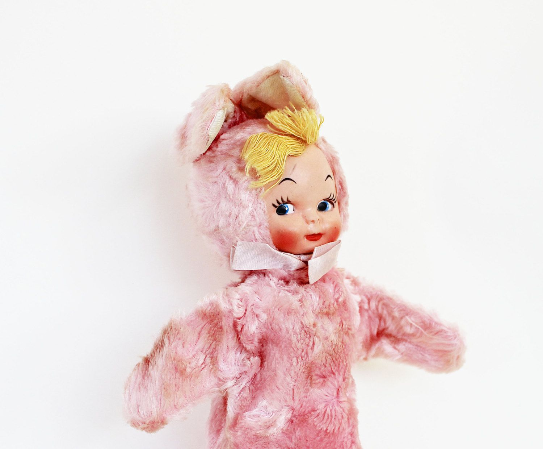 Bunny Girl - Vintage Puppet - Vintage Gund Pink Bunny Doll Hand Puppet - Pastel - Easter - Spring