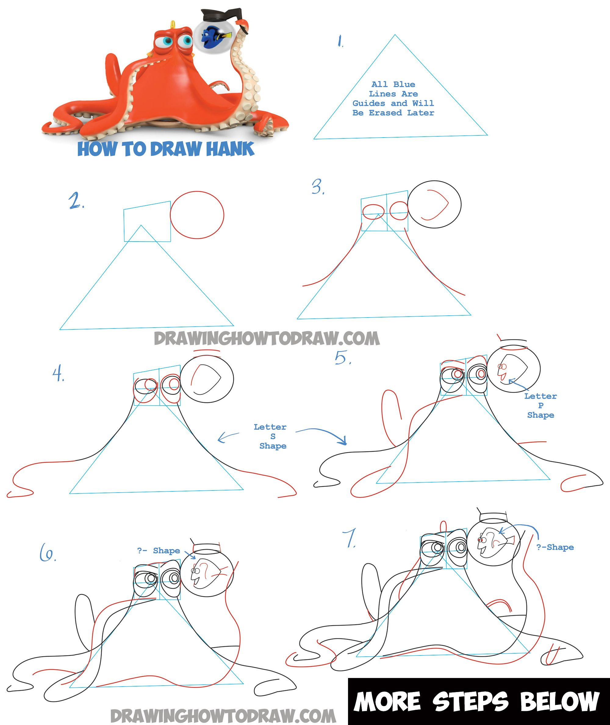 Learn How To Draw Hank The Octopus And Dory From Finding Dory  Step By Step