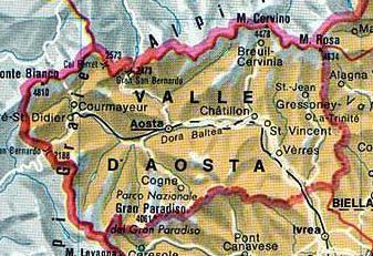Cartina Valle D Aosta Stradale.Mappa Valle D Aosta Cartina Della Valle D Aosta Mappa Mappa Dell Italia Guida Di Sopravvivenza