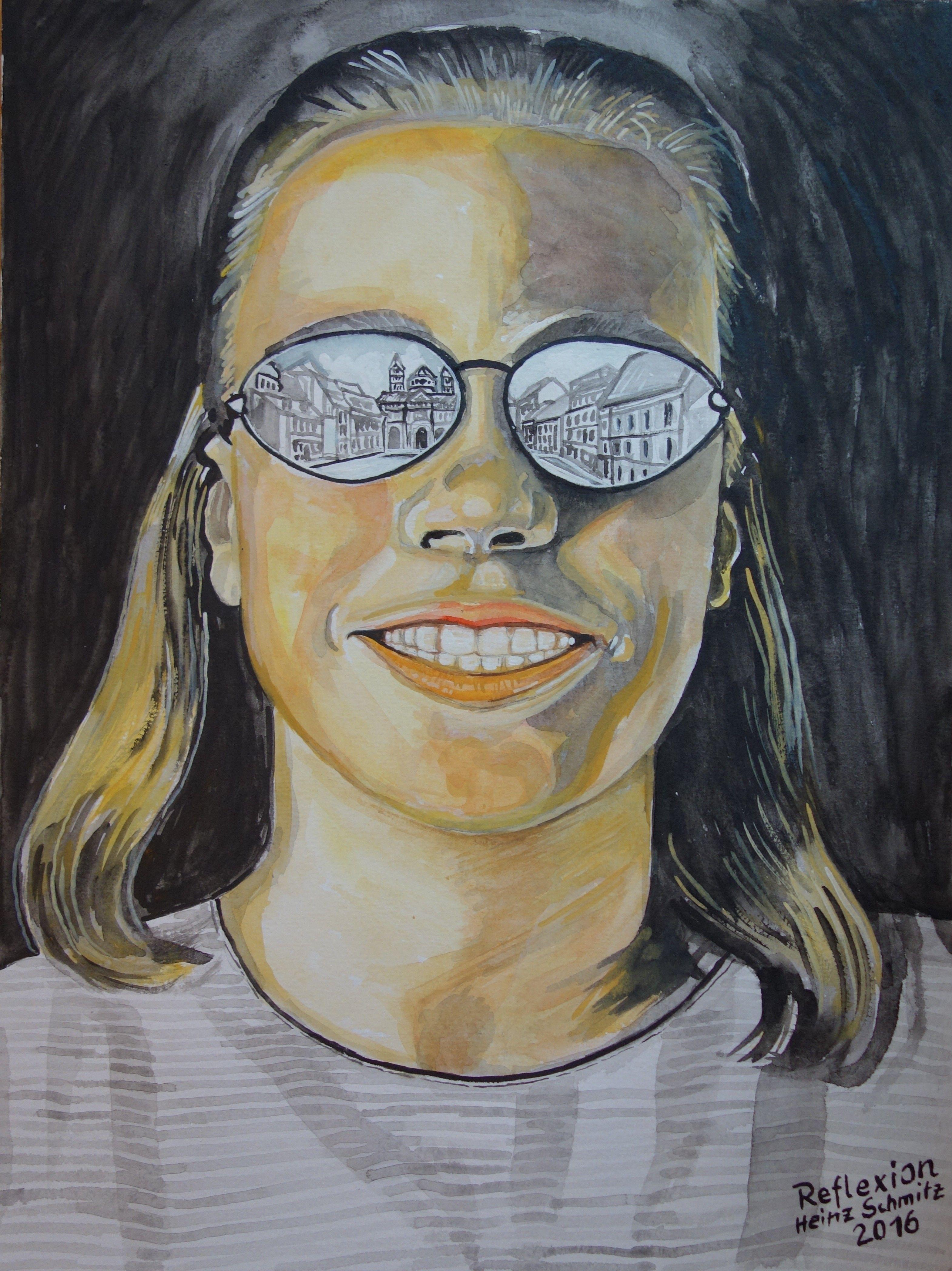 Reflexion. Gouache, Bildgröße 48 x 36 cm, gemalt und signiert von Heinz Schmitz. Knapsack.