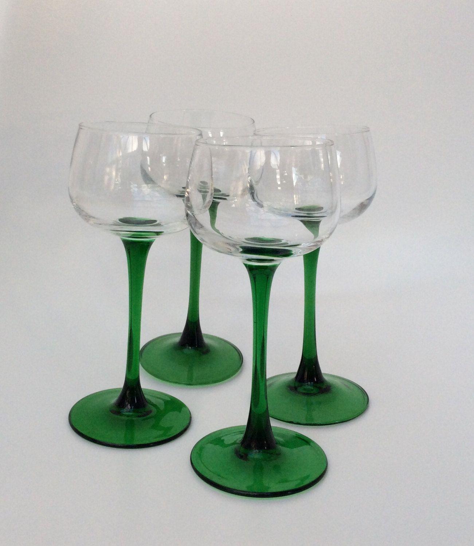 Vintage wine goblets glasses mid century set of 4 green stemmed
