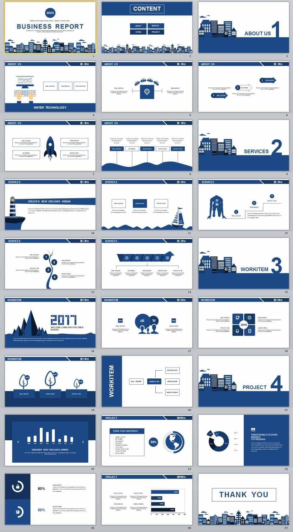 Blue Simple Business Report Powerpoint Templates