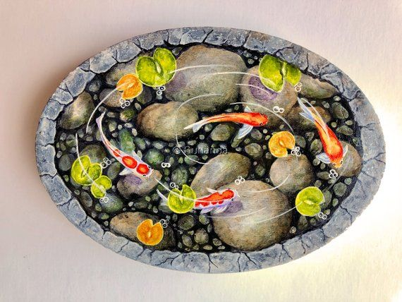 Koi Pond Painting on Wood, Fairy Garden Accessories, Wooden Gift, Koi fish and lilypad painting, Christmas Gifts, Colorful Fish Painting is part of garden Pond Painting - SUNANDAFINEARTS