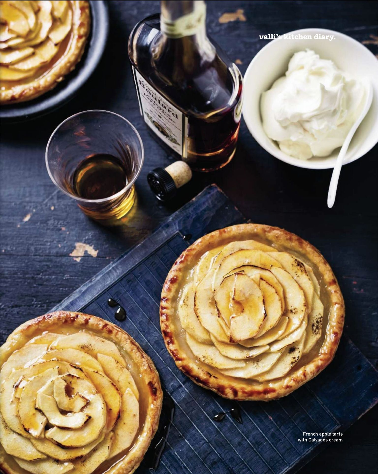 French Apple Tarts with Calvados Cream. Photo By Ben Dearnley. Recipe: http://www.taste.com.au/recipes/29141/french+apple+tarts+with+calvados+cream