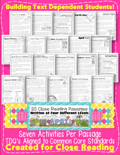 Win April Close Reading w Easter Topics Earth Day and More