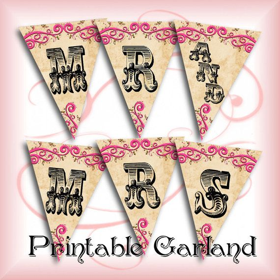 Diy Wedding Word Banners: Mr And Mrs Wedding Garland Anniversary Banner DIY Wedding