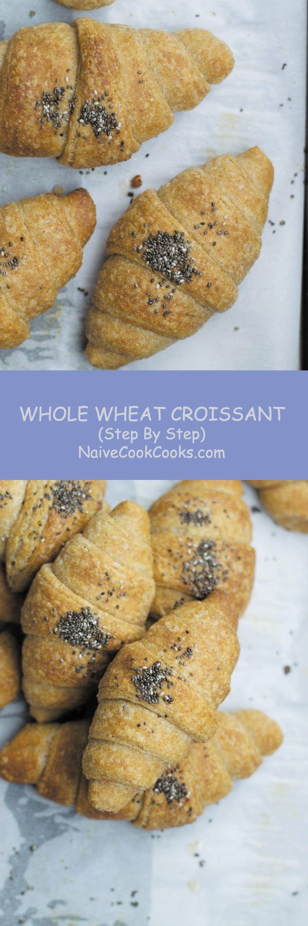 With my STEP BY STEP recipe, make these healthier whole wheat croissants!! So good!! #recipes #bread #french #pastry #croissant #breakfast