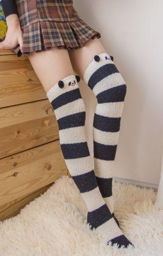 Lolita-Cute-Bear-Sheep-3D-Ears-Plush-Towel-Thigh-High-Over-knee-Stocking-Sock