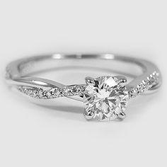 Platinum Petite Twisted Vine Diamond Ring // Set with a 0.57 Carat, Round, Super Ideal Cut, F Color, VS2 Clarity Diamond #BrilliantEarth