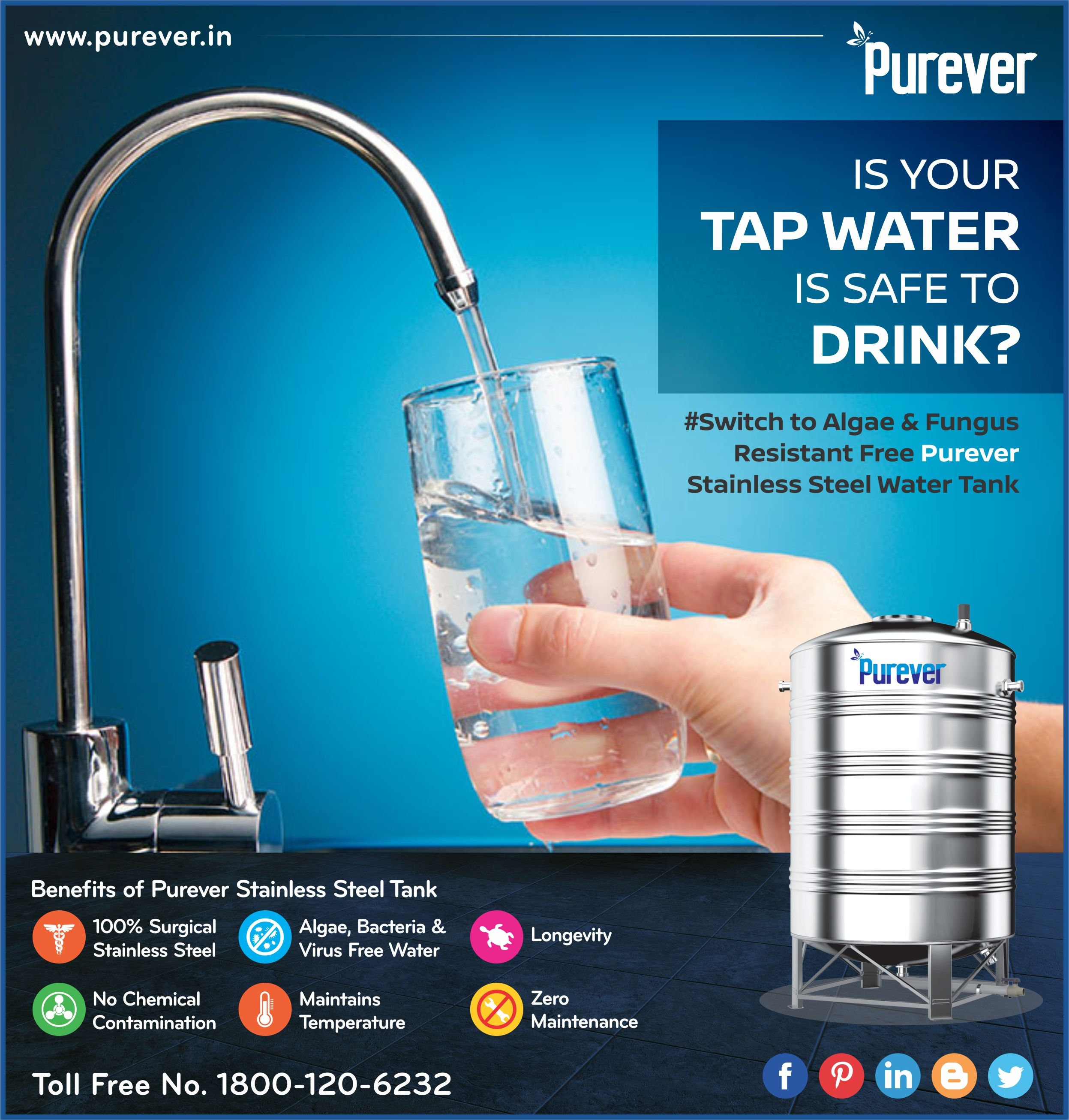 Is Your Tap Water Safe To Drink Lets Make Sure It S Safe To Drink Switch To Algae Fungus Resistan Steel Water Tanks Water Tank Stainless Steel Tanks