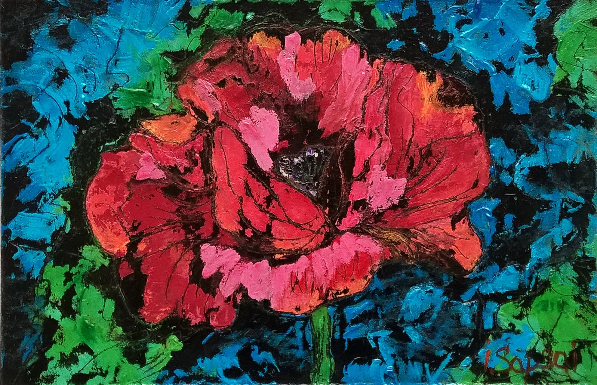 Red poppies flower art painting Modern art painting