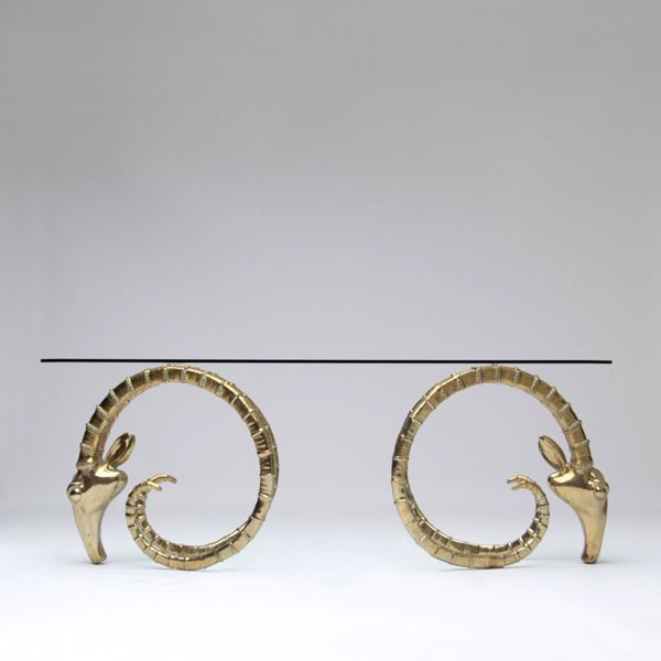 Incroyable Exceptional Polished Brass Rams Head Table Bases. Extremely Heavy With  Great Details. These Bases Can Be Used In Different Configurations.