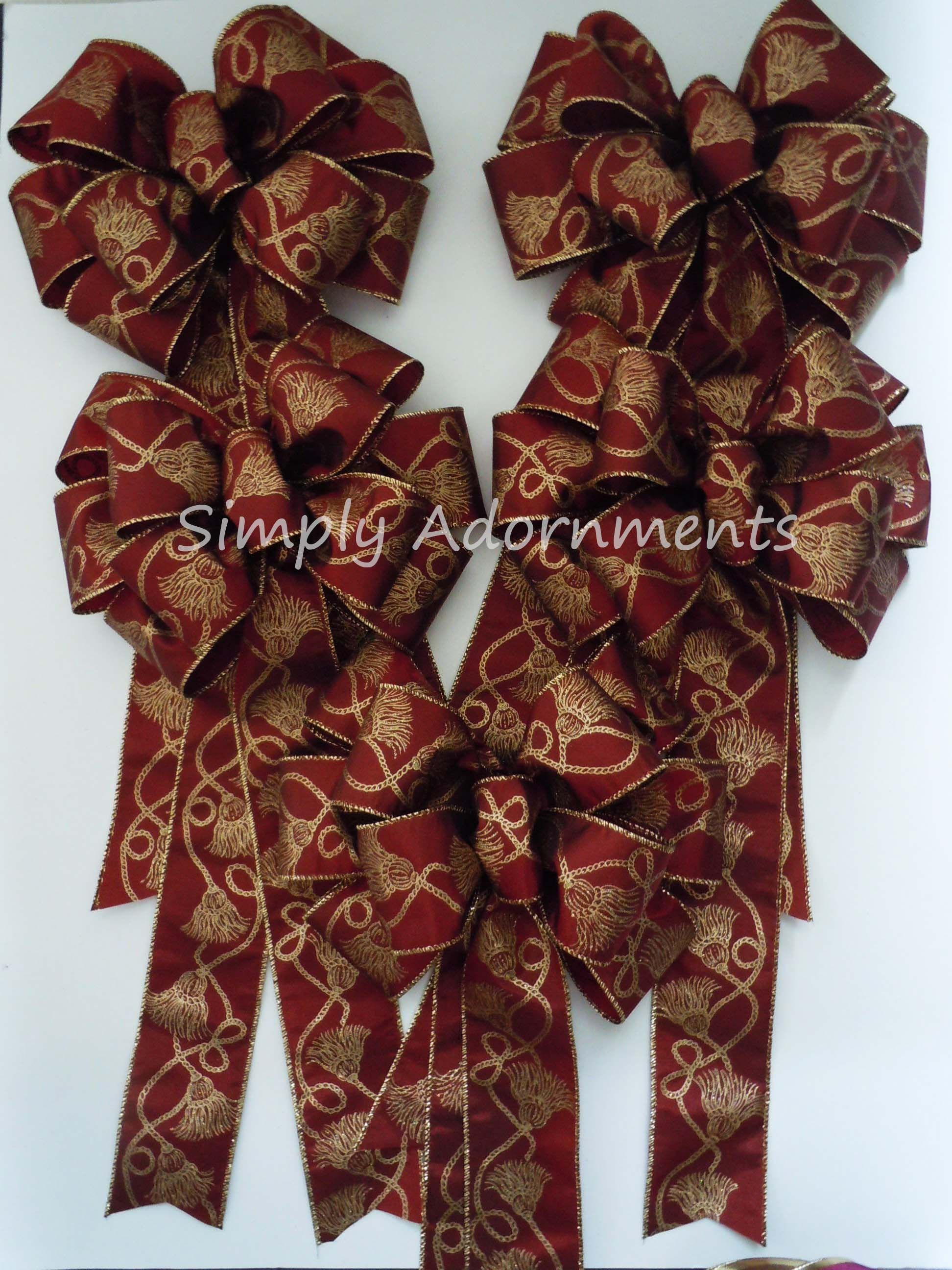 Burgundy gold Victorian Christmas Gold   Wedding Pew Bows / Bows ...