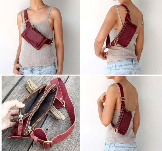 Leather Hip Bag / Belt Bag in Red by TheLeatherTH on Etsy