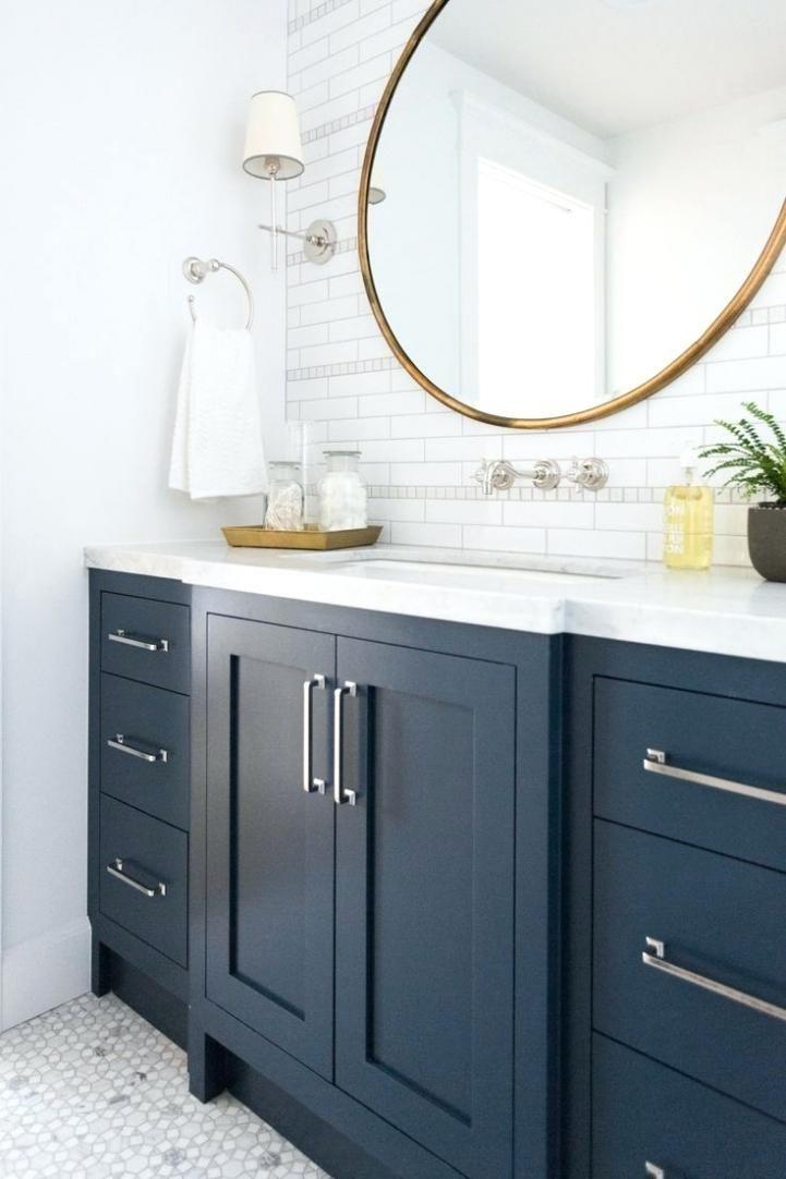 Pin By Kara Kelpe On Bathroom Blue Bathroom Vanity Painting Bathroom Round Mirror Bathroom