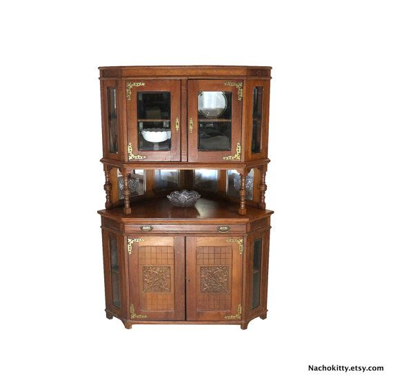 1870s Corner Cabinet, Victorian Asian Carving, Beveled Glass ...
