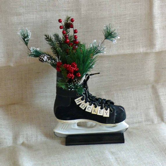 4fcd5c42c Recycled Hockey Skate Floral Centerpiece by SnowmanCollector