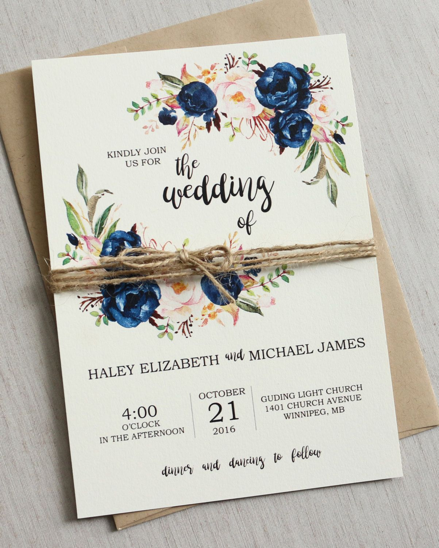 Rustic Navy Wedding Invitation Suite, Modern, Bohemian Wedding ...