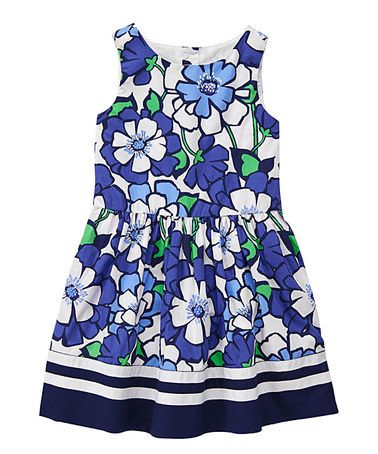 Another great find on #zulily! Blue Floral Pleated Dress - Girls #zulilyfinds