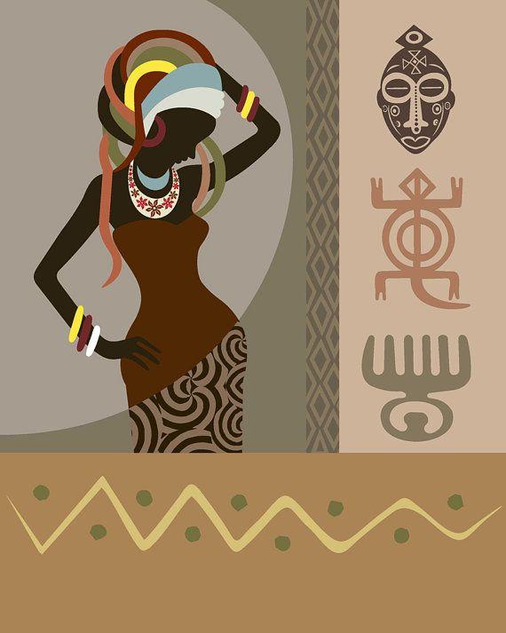 African Art Woman Adinkra African Symbols African Art By Iqstudio