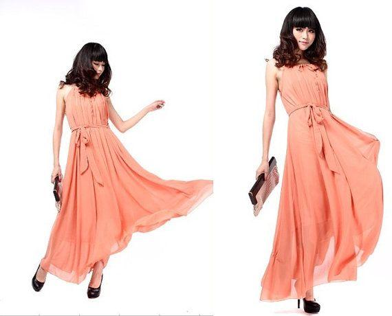 Chiffon Bridesmaid Dress Maxi Long Full Dress Halter by laceyouup, $89.00