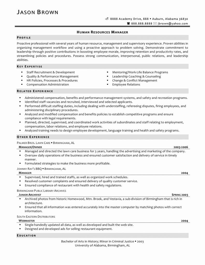 Entry Level Human Resources Resume Inspirational 12 13