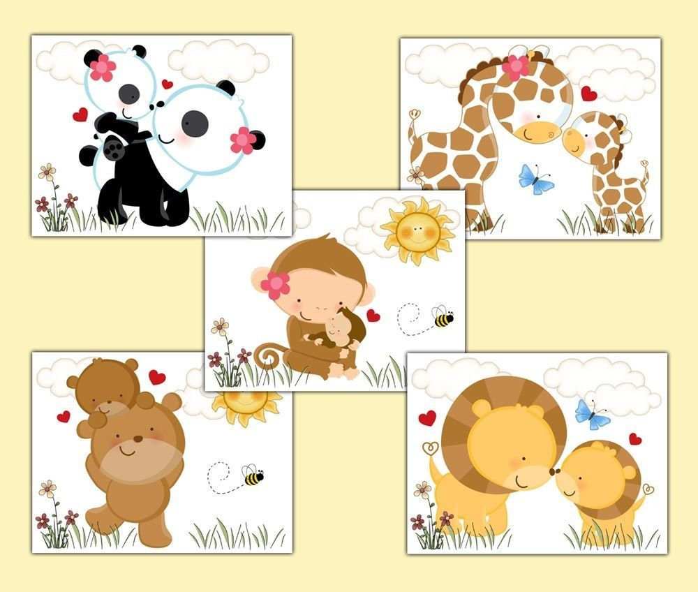 SAFARI NURSERY PRINTS Wall Art Jungle Animal Woodland Forest Decor ...