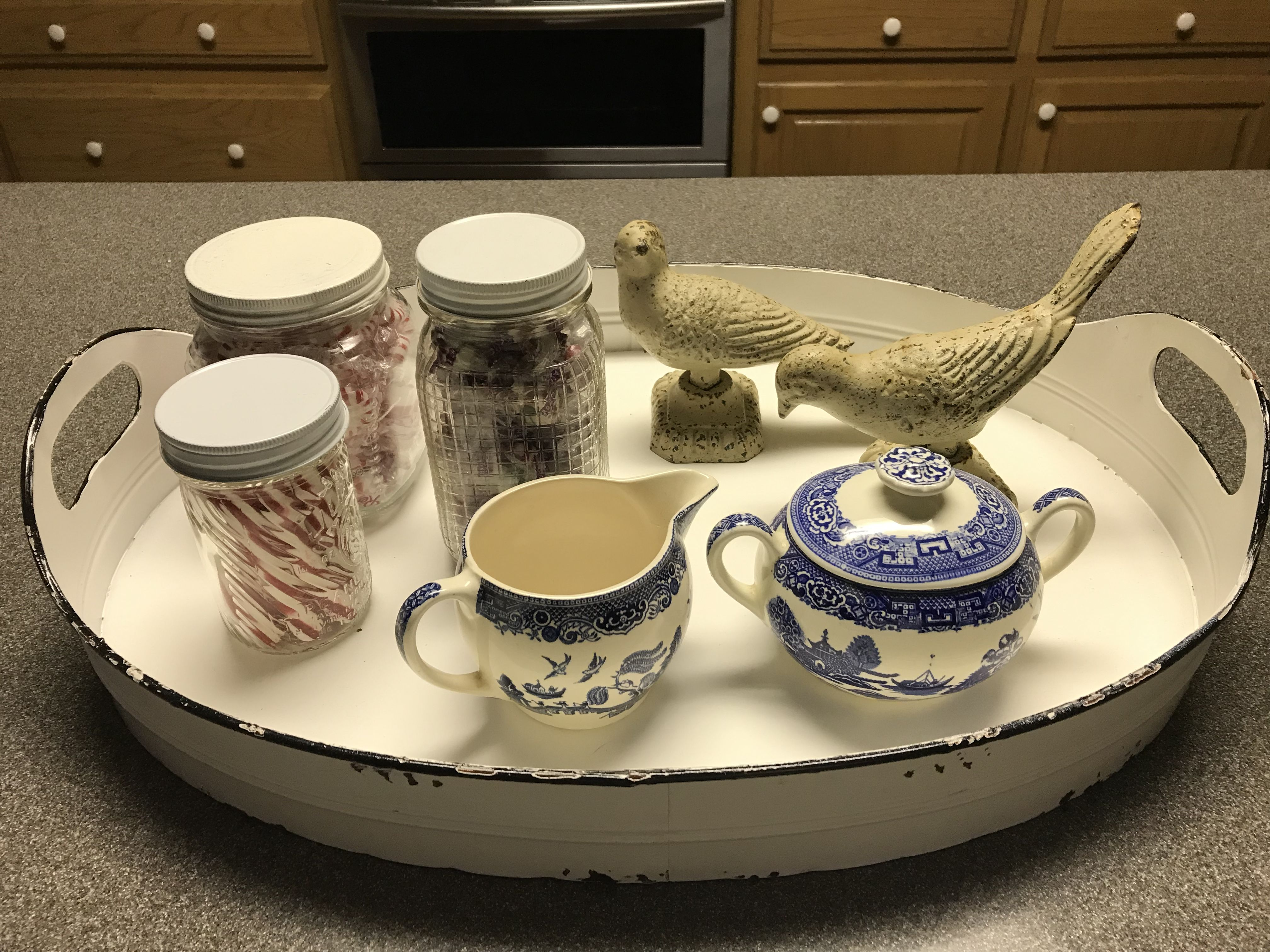 A Lovely White Tray On The Kitchen Counter Adds Color And Interest White Tray Sugar Bowl Set Bowl Set