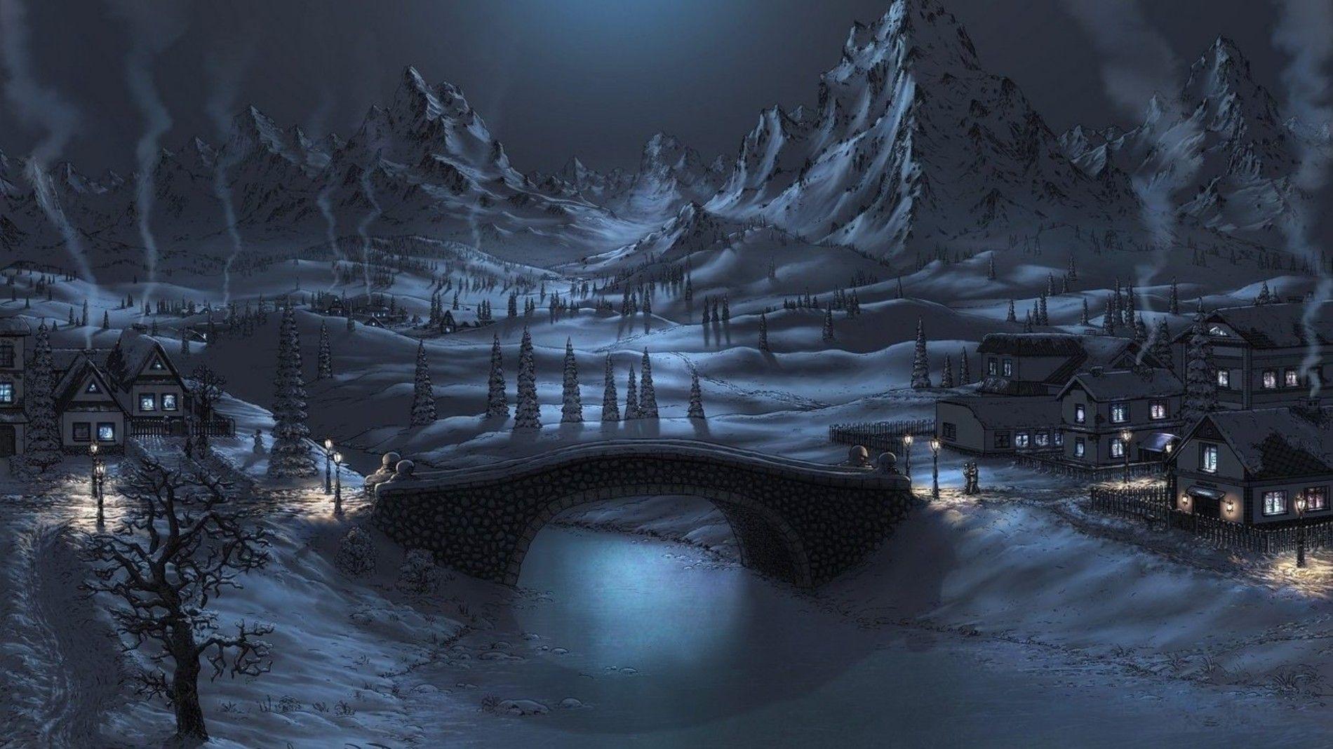 Night Winter Hd Wallpapers Winter Wallpaper Hd Winter Wallpaper Snow Night